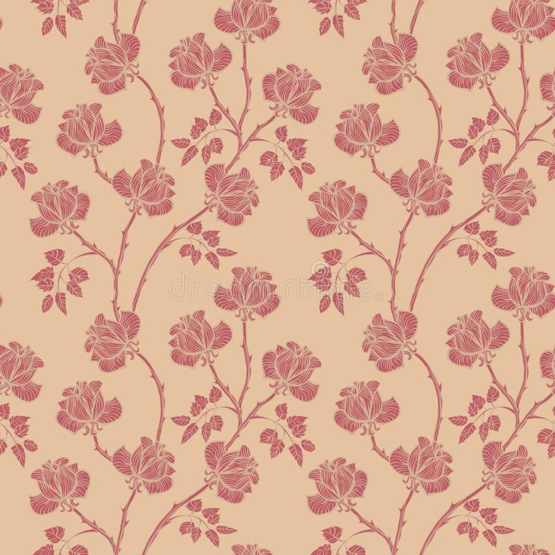 Floral pattern with roses. Flower seamless background. Flourish ornamental garden stock illustration