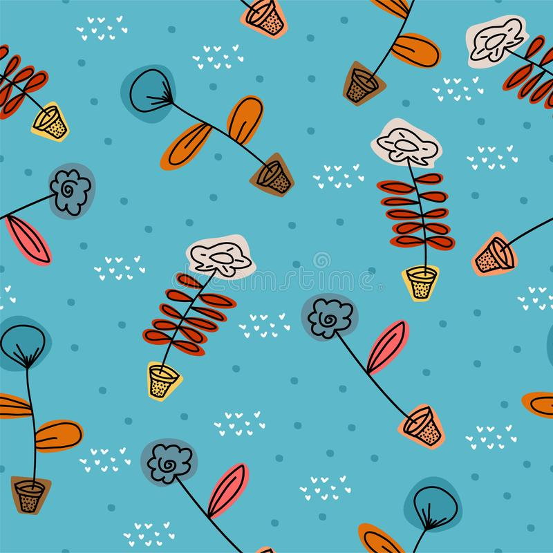 Floral pattern with scandinavian drawing cartoon colorful elements on blue background. Cute and unique nature objects seamless. Hand drawn background for baby vector illustration