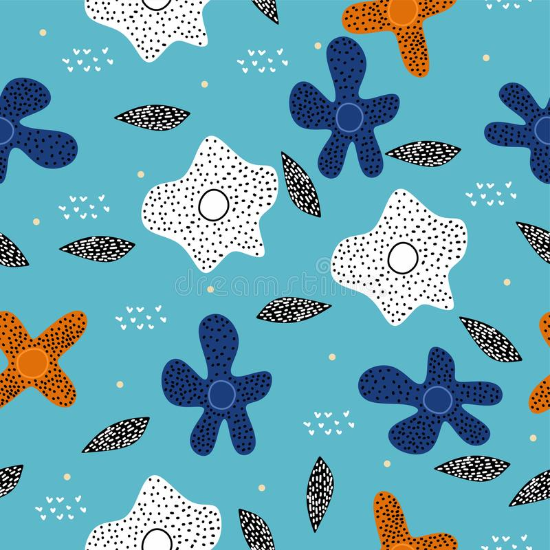 Floral pattern with scandinavian drawing cartoon colorful elements on blue background. Cute and unique nature objects seamless. Hand drawn background for baby royalty free illustration