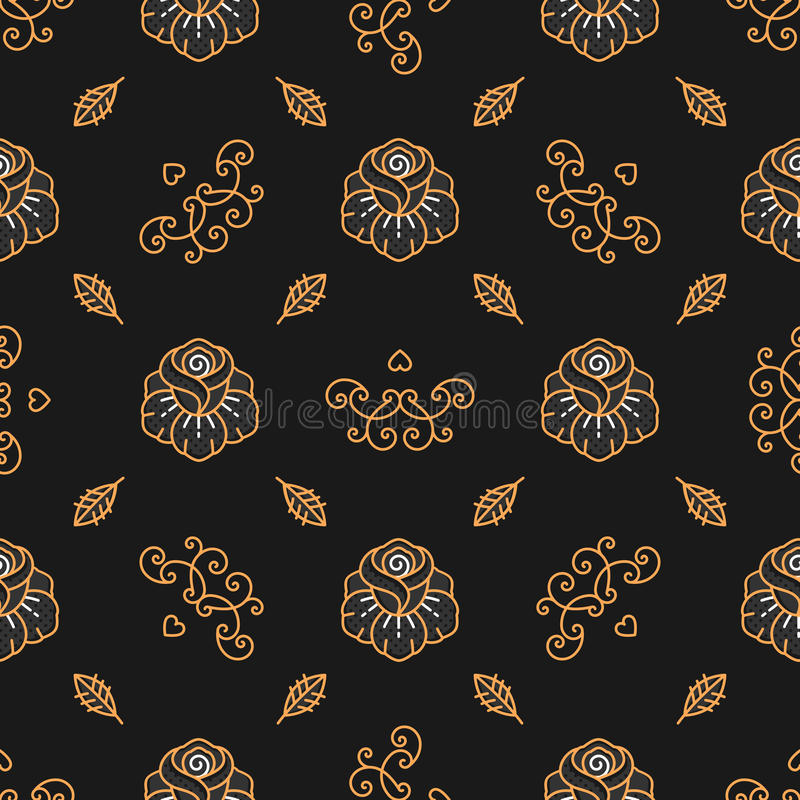 Floral pattern seamless, Golden Rose linear icons, Trendy hipster background. Floral pattern seamless, trendy hipster background. Golden Rose linear icons vector illustration