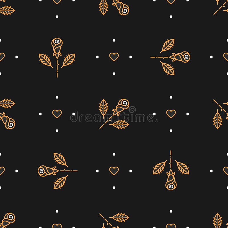 Floral pattern seamless, minimal background. Golden icons line roses, heart. Floral pattern seamless, trendy minimal background. Golden icons line roses and stock illustration