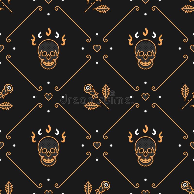 Floral pattern seamless, rhombus backdrop, Art Deco background, skull roses. Floral pattern seamless, rhombus cell pattern, trendy Art Deco background. Gold Line royalty free illustration