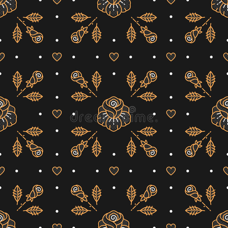 Floral pattern seamless, rhombus cell backdrop, trendy Art Deco background. Floral pattern seamless, rhombus cell pattern, trendy Art Deco background. Golden royalty free illustration