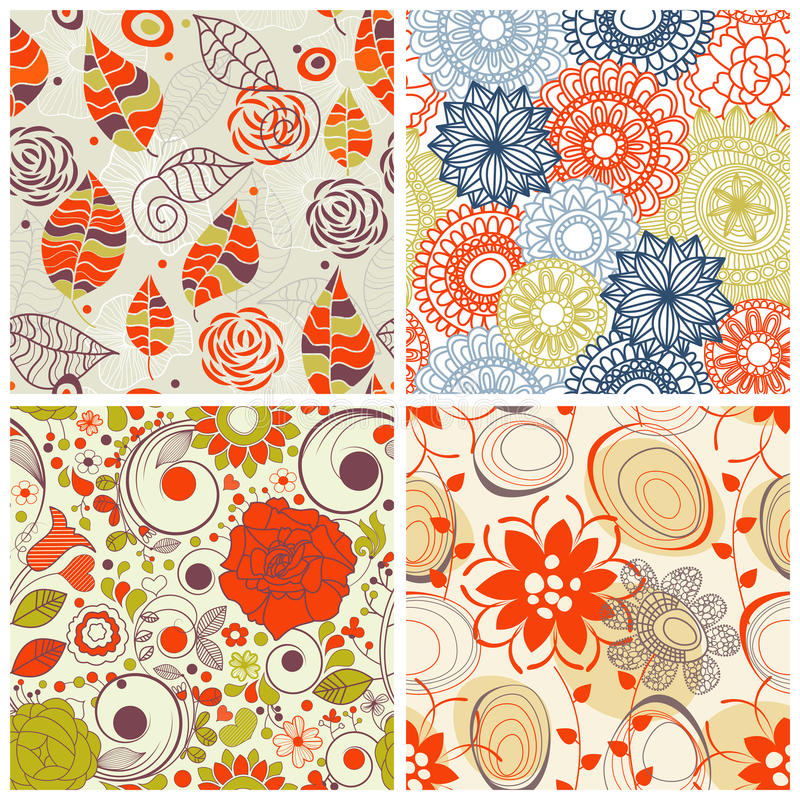 Floral pattern set. Floral seamless pattern set in trendy colors vector illustration