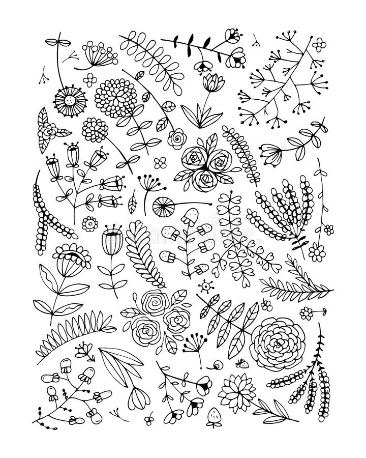Floral pattern, sketch for your design royalty free illustration