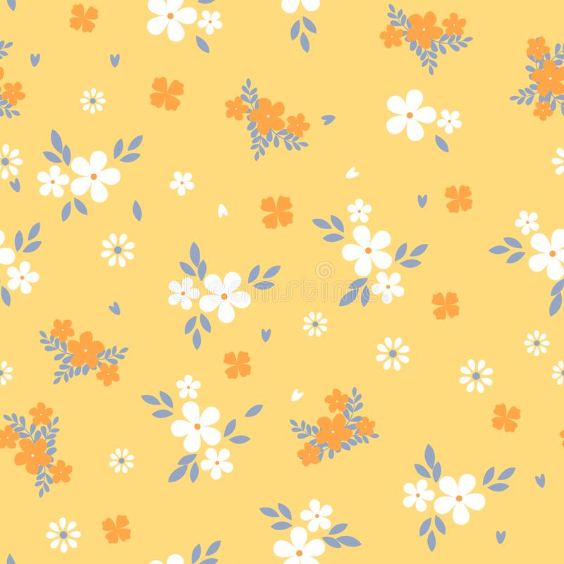 Floral pattern with small white flower. Liberty style. Elegant flower seamless background for fashion prints. Ditsy stock illustration