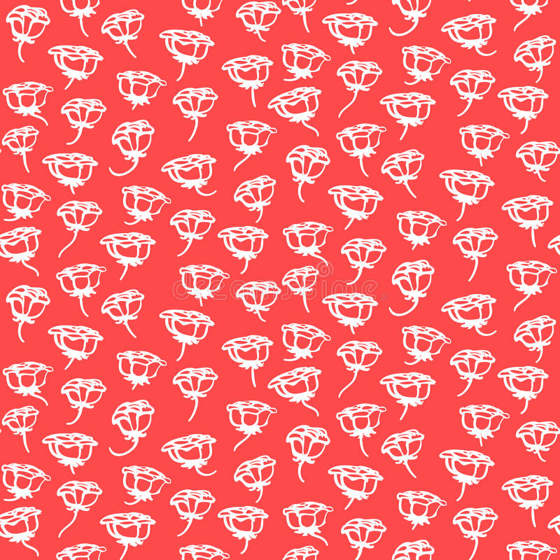 Floral pattern with small white roses on coral red vector illustration