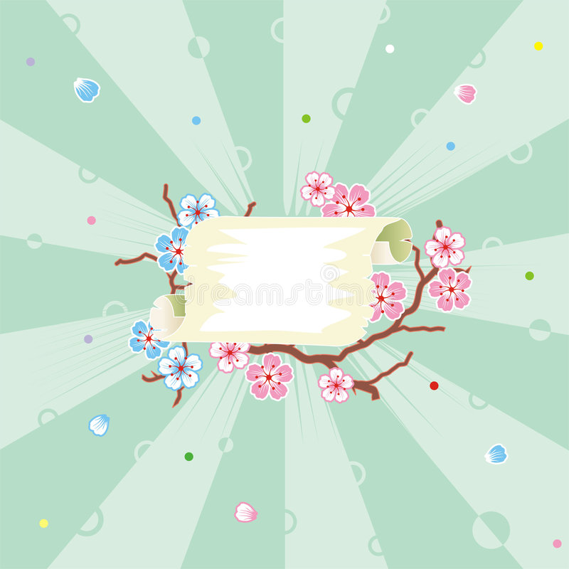 Floral pattern spring background with scroll and sunbeam royalty free illustration
