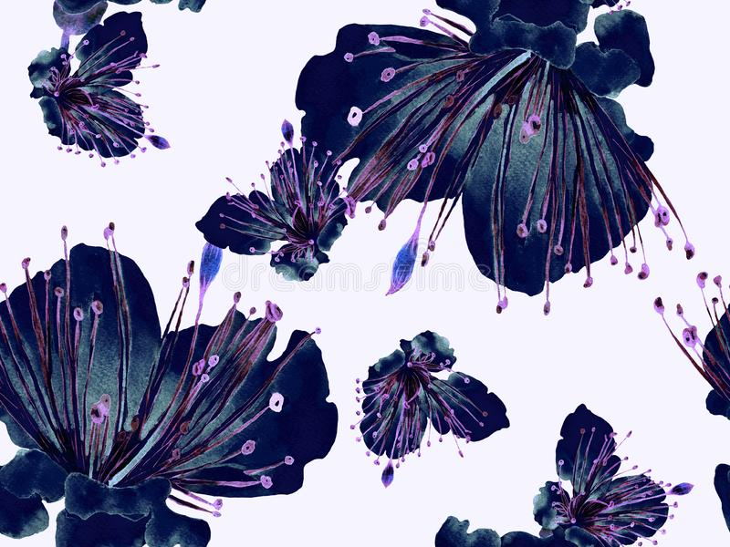 Floral Pattern Trendy. Large Jungle Seamless Print on Black and White Background. Large Hawaiian Summer Watercolor Granadilla Endless Background. Random Floral royalty free illustration