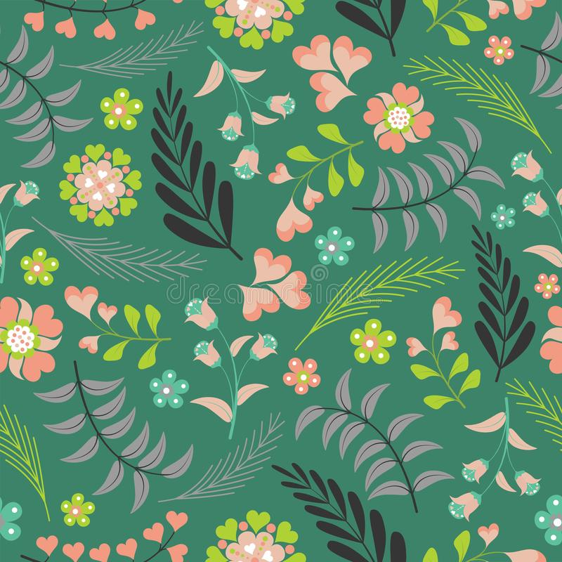 Floral pattern vector design with flowers on dark green background stock photos