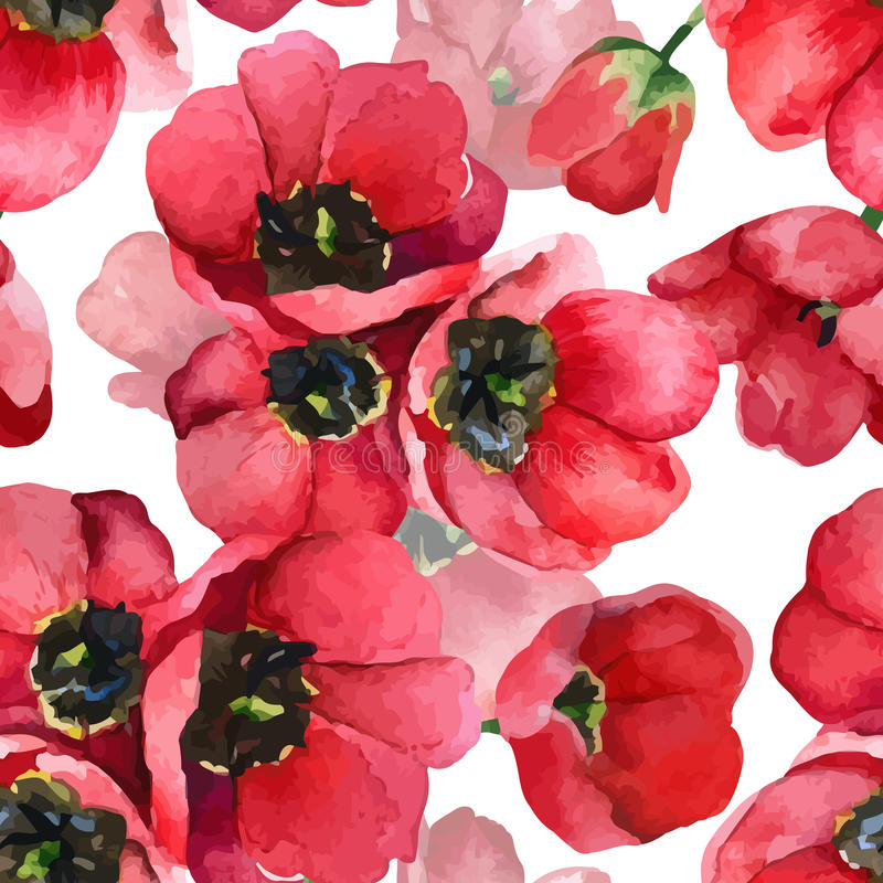 Floral pattern. Vector seamless background. Red tulips