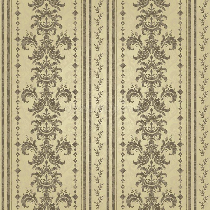 Floral pattern. Wallpaper baroque, damask. Gold color vector illustration