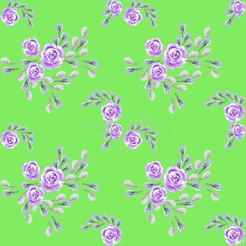 Floral pattern for wallpaper or fabric, packing paper, cards. Flower rose. stock illustration