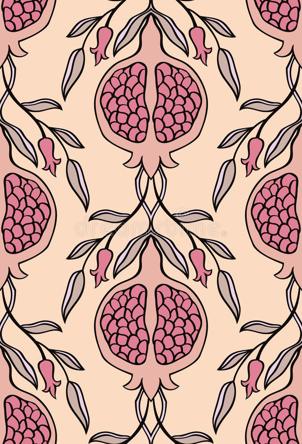 Floral pattern for wallpaper. Pink floral pattern. Seamless ornament with pomegranate. Stylized template for wallpaper, textile, linen, bedspread, curtain stock illustration