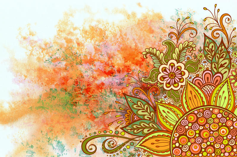 Floral Pattern on Watercolor Painting royalty free illustration