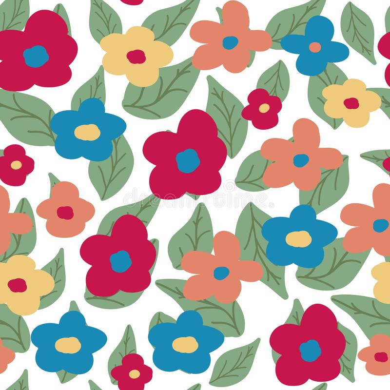 Floral pattern on white background. Flowers and leaves. Vector royalty free stock photography