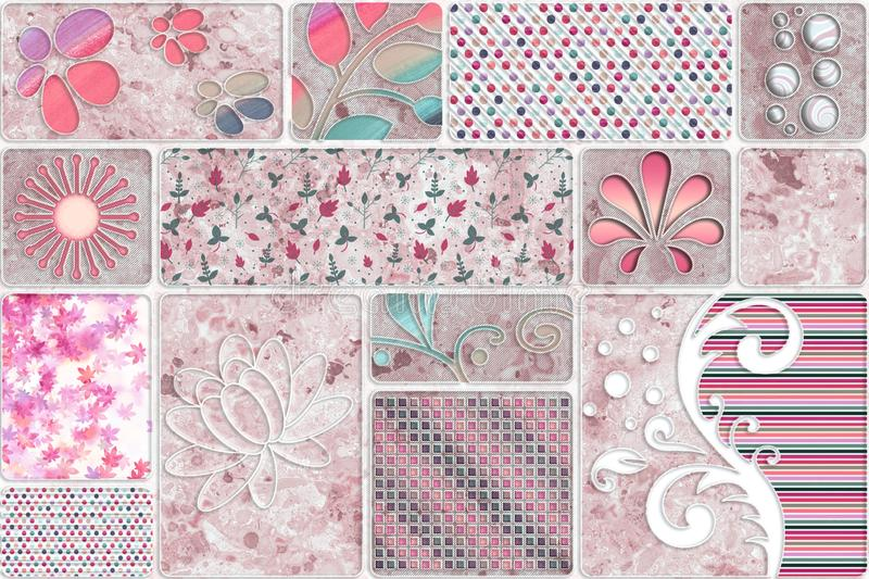 Floral patterned colourfull wall tiles for decoreted home wall stock illustration