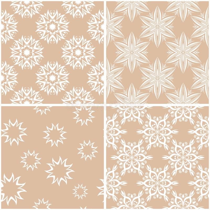 Floral patterns. Set of beige and white seamless backgrounds vector illustration