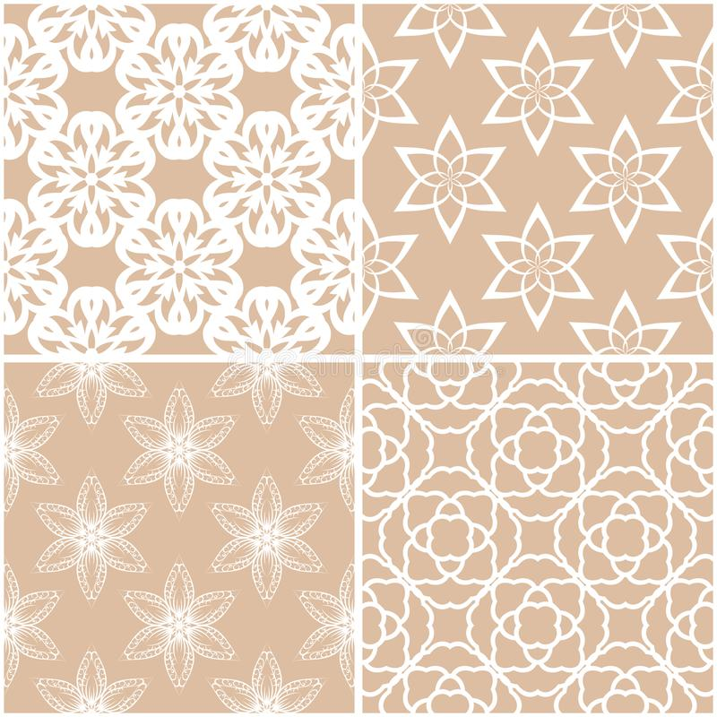Floral patterns. Set of beige and white seamless backgrounds stock illustration