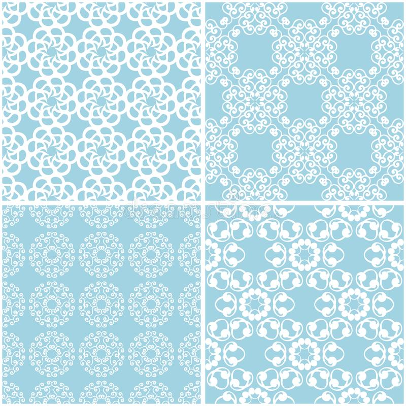 Floral patterns. Set of blue and white seamless backgrounds stock illustration