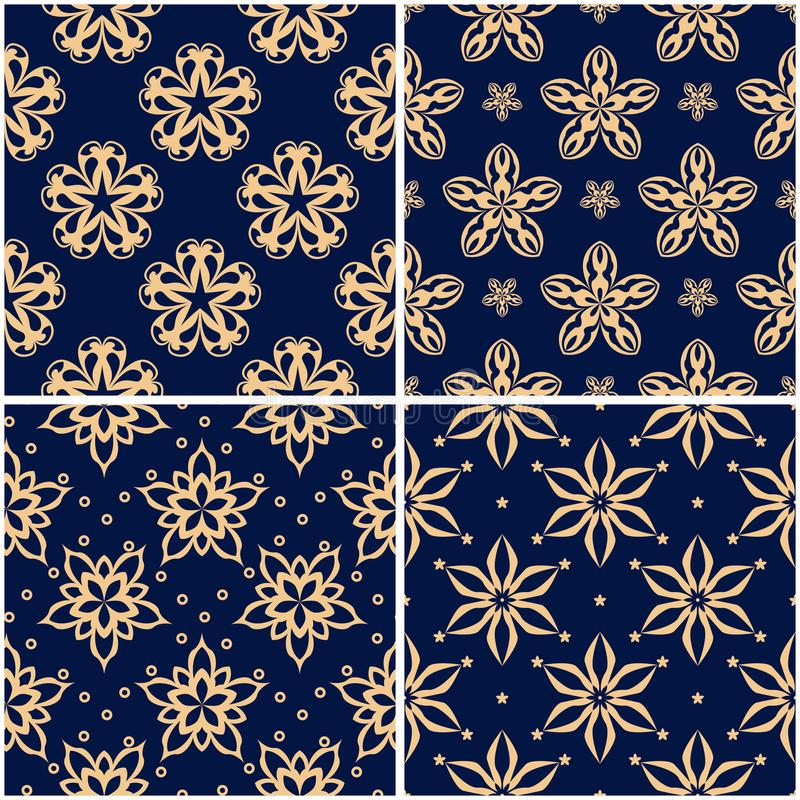 Floral patterns. Set of golden blue seamless backgrounds stock illustration
