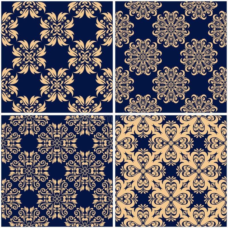 Floral patterns. Set of golden blue seamless backgrounds stock illustration