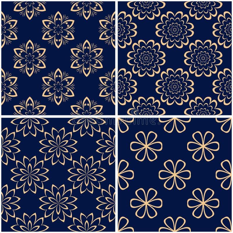 Floral patterns. Set of golden blue seamless backgrounds vector illustration