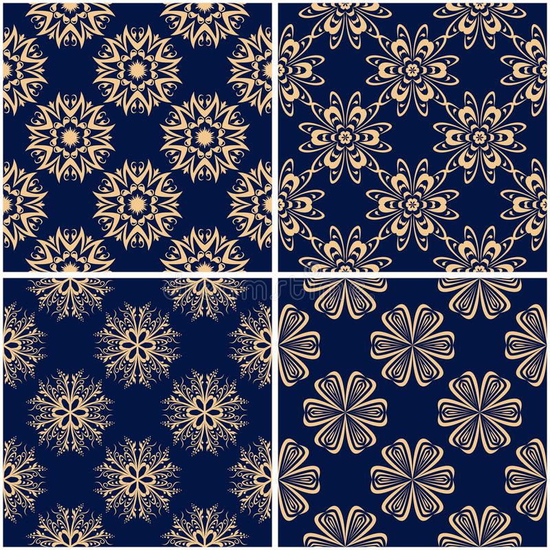 Floral patterns. Set of golden blue seamless backgrounds vector illustration