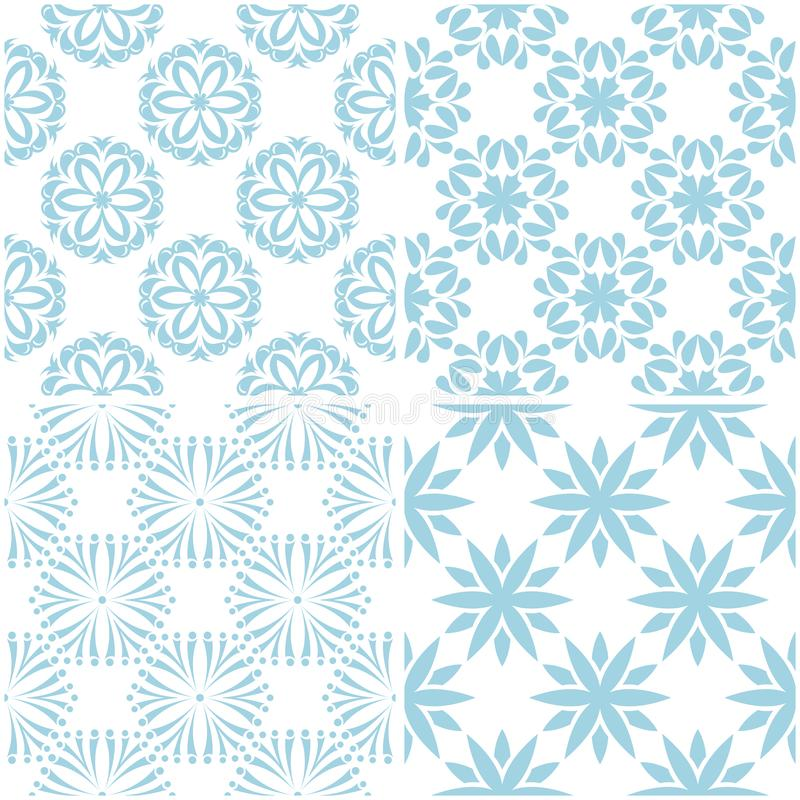 Floral patterns. Set of light blue elements on white. Seamless backgrounds stock illustration