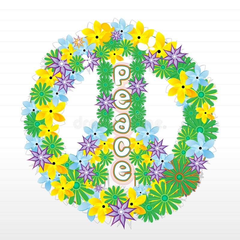 Floral peace sign stock illustration