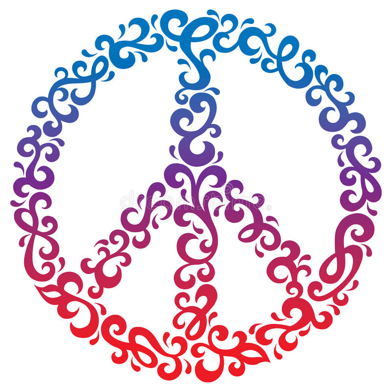 Download Floral Peace Symbol stock vector. Illustration of seventies - 27236352