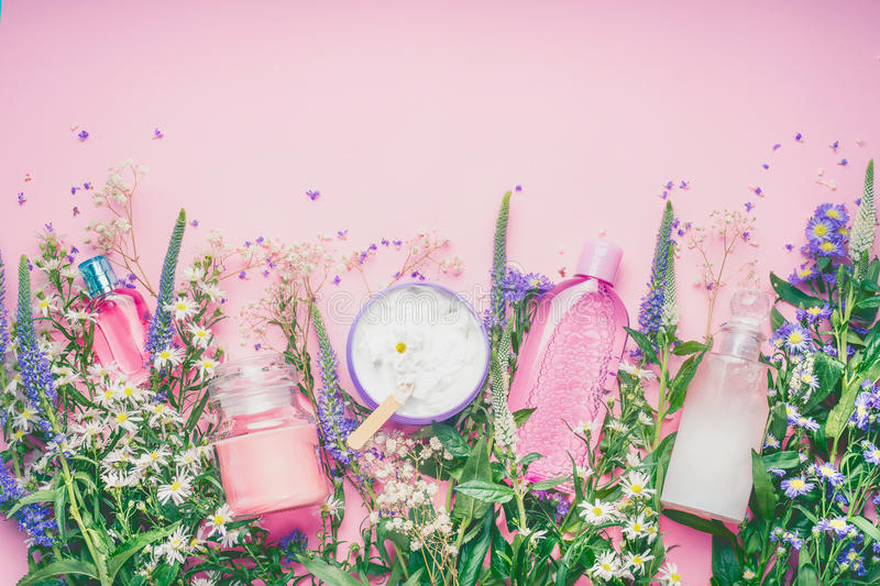 Floral Perfume Bottle With Fresh Herbs And Flowers On Pink - Best of flower powerpoint background concept