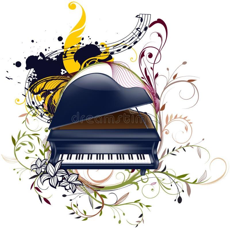Floral Piano Vector Design stock image