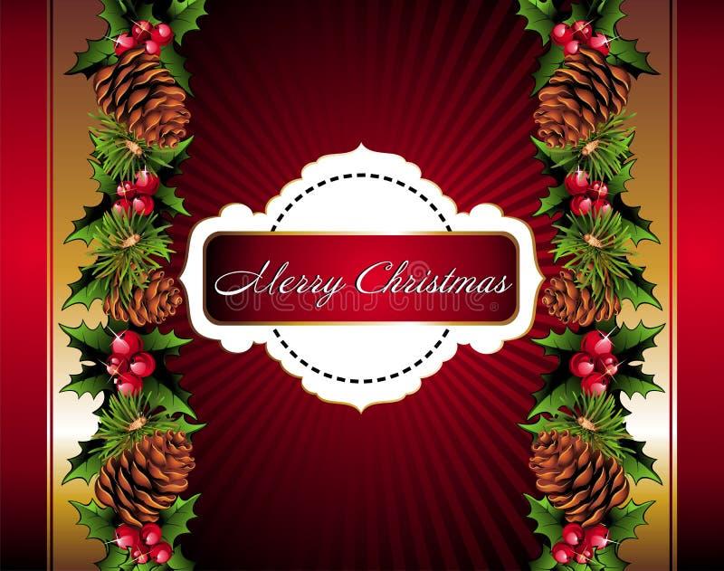 floral pinecone Χριστουγέννων ανασκόπ&et απεικόνιση αποθεμάτων