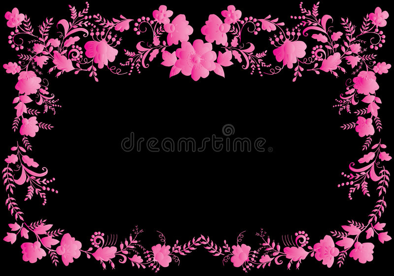 Floral pink on black frame stock illustration