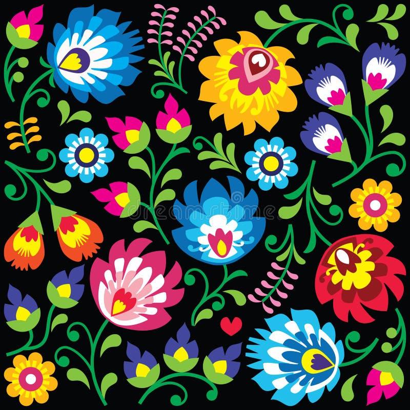 Floral Polish folk art pattern on black. Traditional colorful background - Slavic cutout style folk art pattern stock illustration