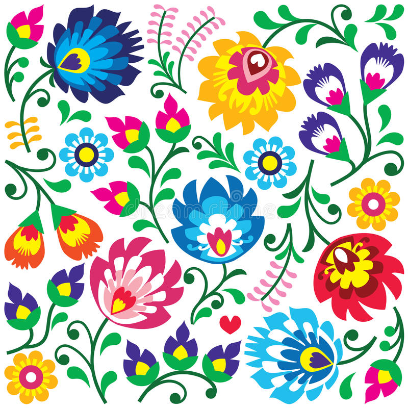 Floral Polish folk art pattern in square - Wzory Lowickie, Wycinanki stock illustration