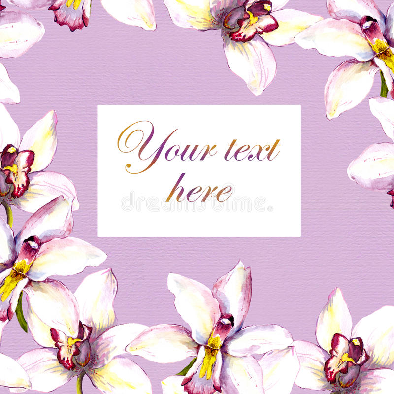 Floral postcard - white orchid flower and text space. Hand painted aquarell drawing. Floral postcard with white orchid flower and text space. Hand painted royalty free illustration