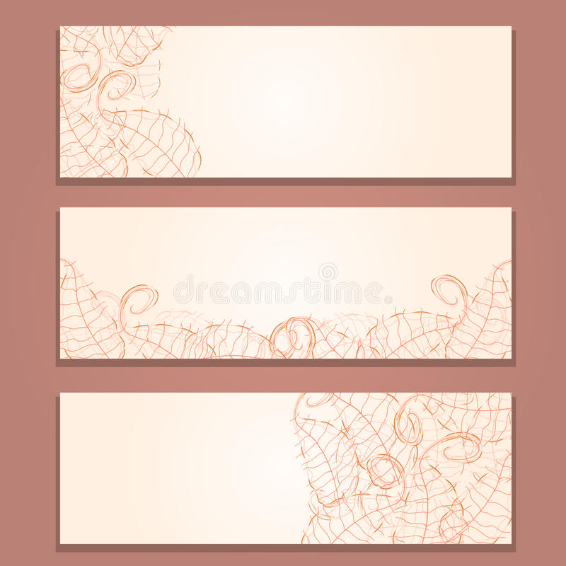 Floral Red Banner Set With Leaf Silhouettes Stock Photo