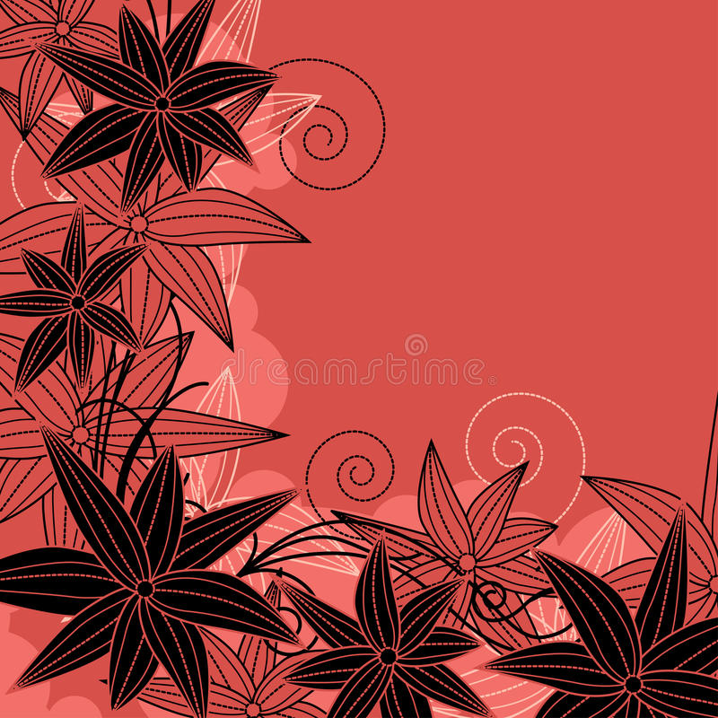Download Floral Red Frame With Contour Flowers Stock Vector - Image: 20973570