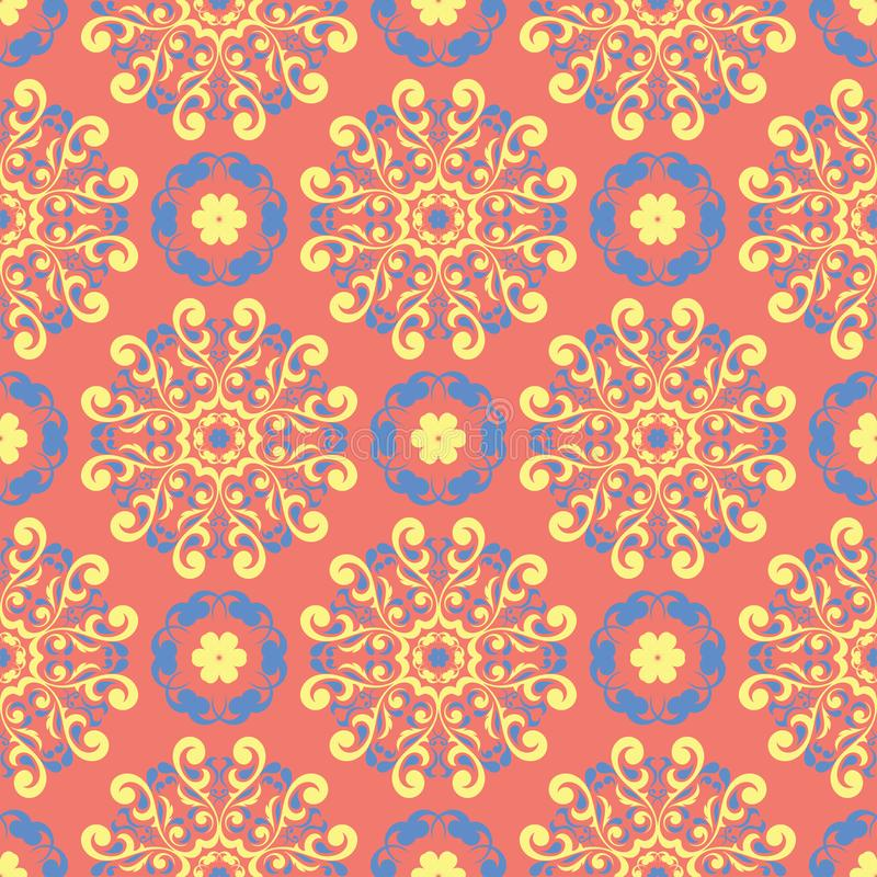Floral red seamless pattern. Bright colored background with yellow and blue flower elements vector illustration