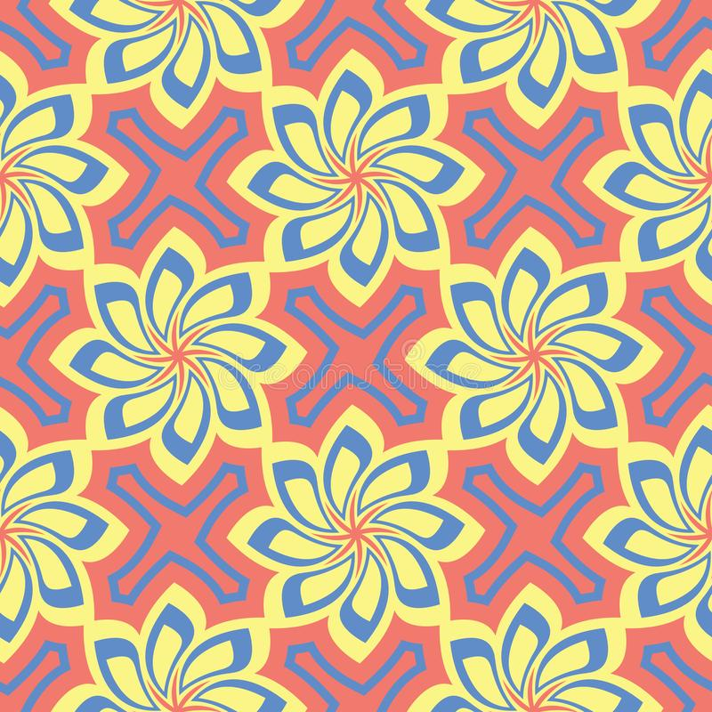 Floral red seamless pattern. Bright colored background with yellow and blue flower elements royalty free illustration