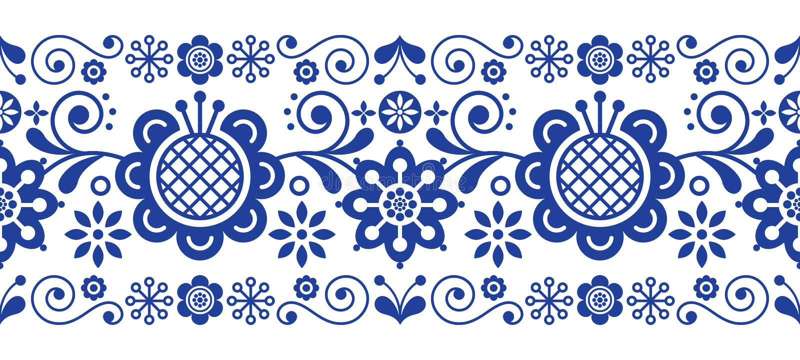 Scandinavian folk art retro vector long pattern, floral ornament in navy blue - seamless stripe stripe vector illustration