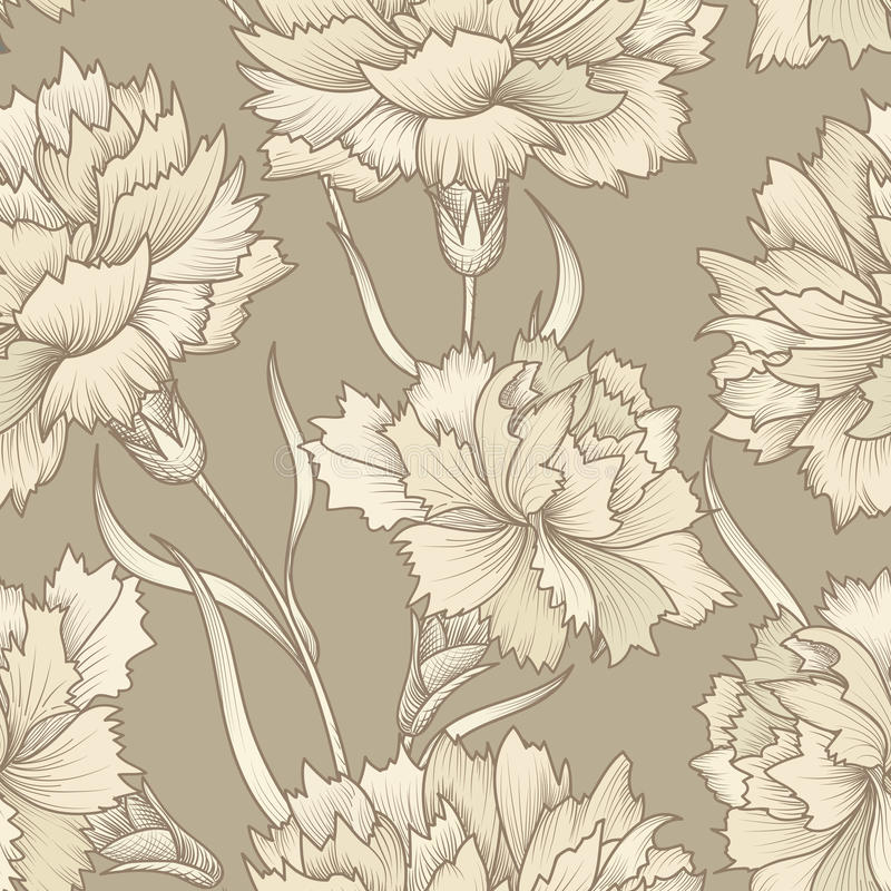 Floral retro seamless pattern. Flower background. Floral seamless texture with carnation flowers. Flourish tiled wallpaper royalty free illustration