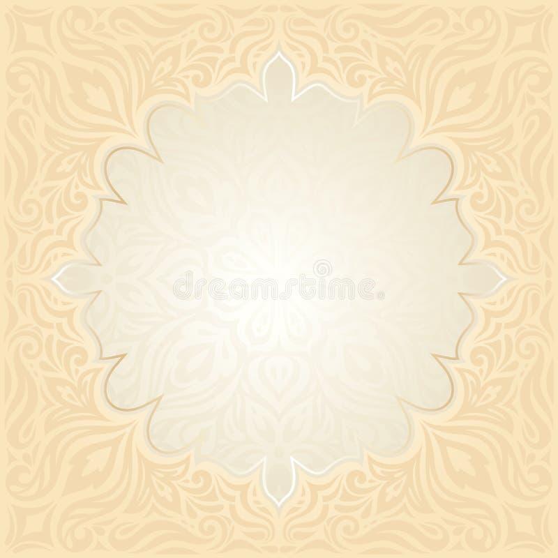 Floral Retro wedding pale peach background mandala design royalty free illustration
