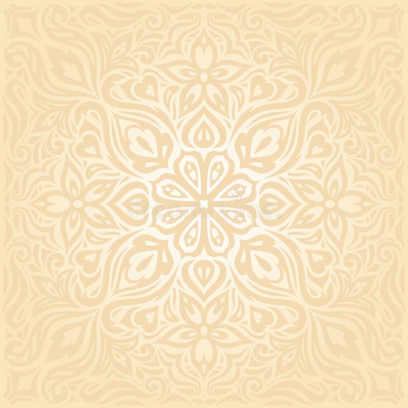 Floral Retro wedding pale peach wedding background mandala design stock illustration