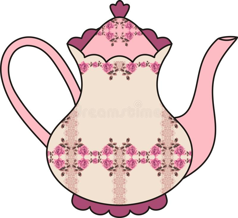 Floral Roses Teapot (time For Tea). Shabby Chic. Stock ...