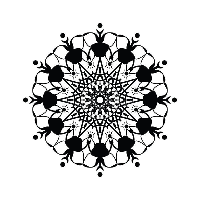 Floral round decorative symbol. Vintage decorative elements. Abstract background stock illustration