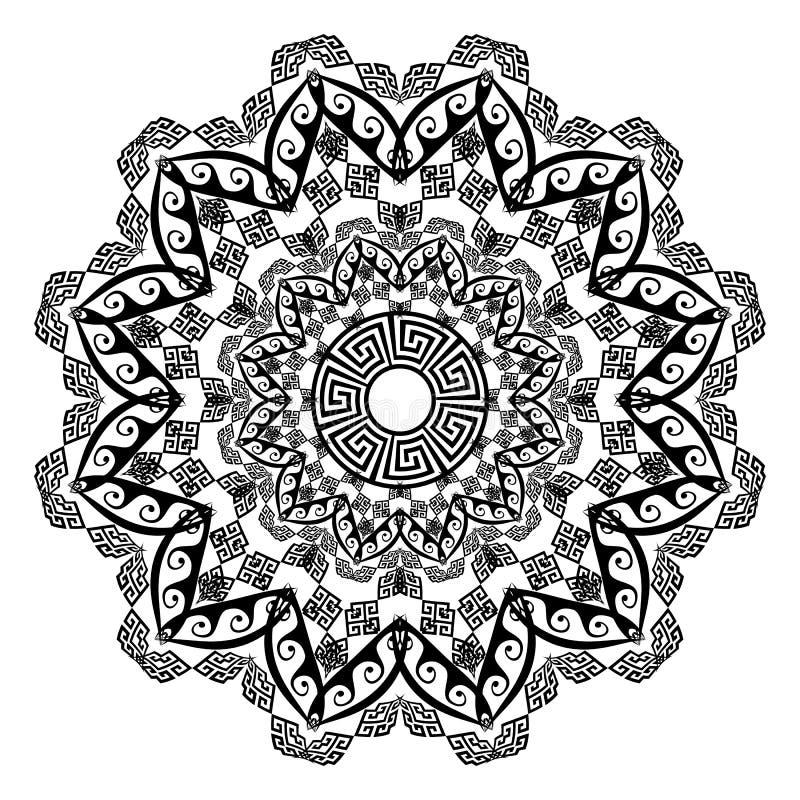 Floral round ethnic mandala ornament. Vector greek key meander pattern on the white background. royalty free illustration