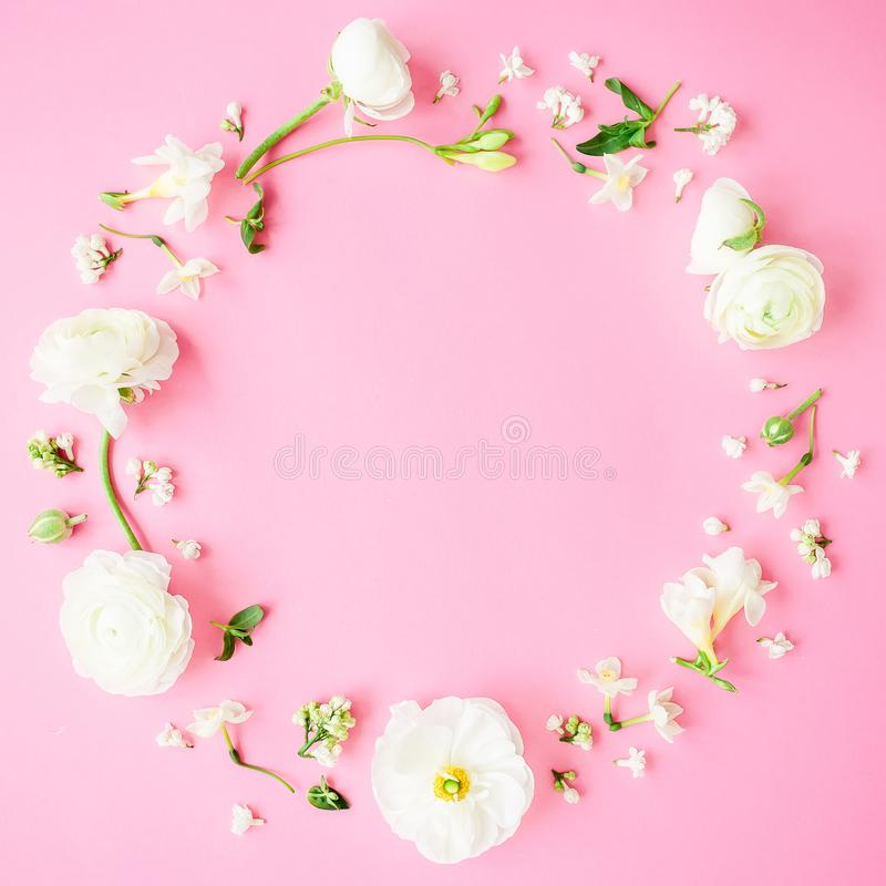 Floral round frame made of white flowers, buds and petals on pink background. Flat lay, top view. Pastel background. royalty free stock photo